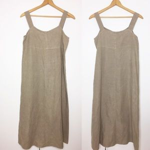 Eileen Fisher tan linen maxi dress Classic small